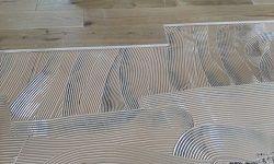Estrich - Untergrund auf dem Holzdielen geklebt wurden
